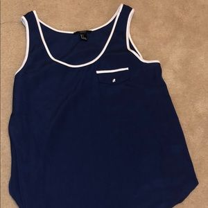 Navy blue with white tank top